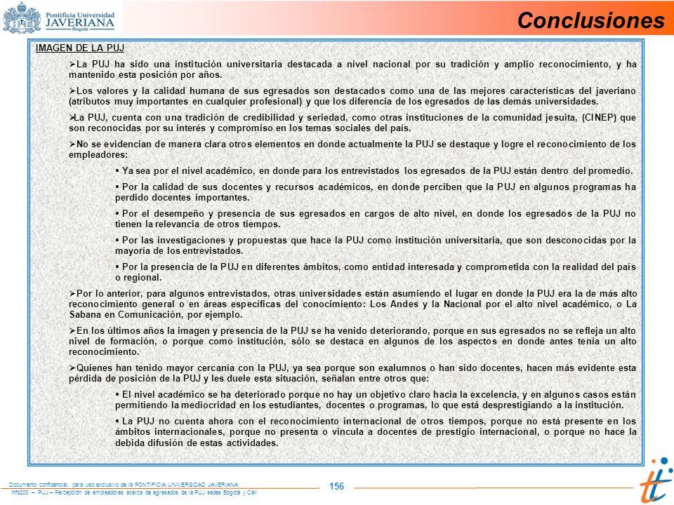 Conclusiones 156 IMAGEN DE LA PUJ