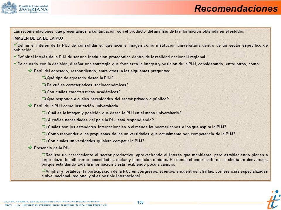 Recomendaciones Las recomendaciones que presentamos a continuación son el producto del análisis de la información obtenida en el estudio.