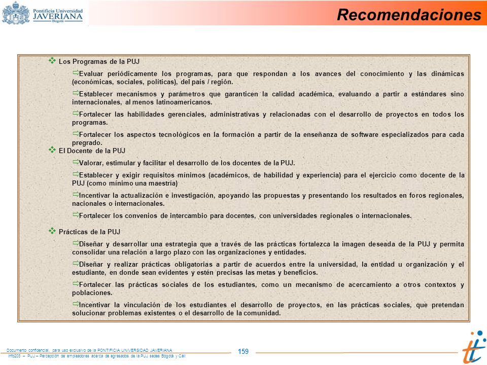 Recomendaciones 159 Los Programas de la PUJ