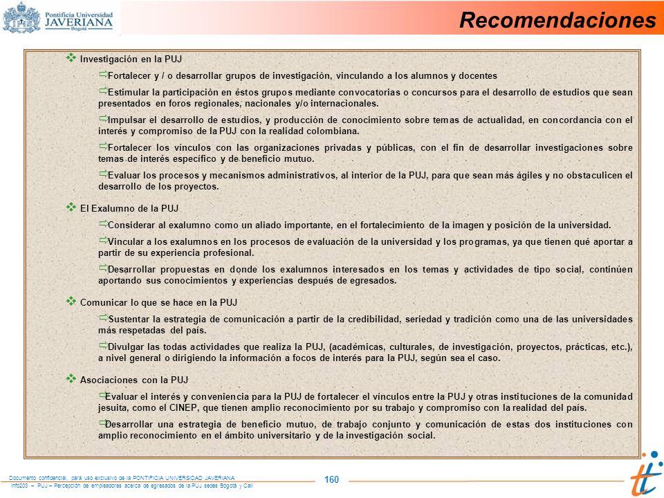 Recomendaciones 160 Investigación en la PUJ