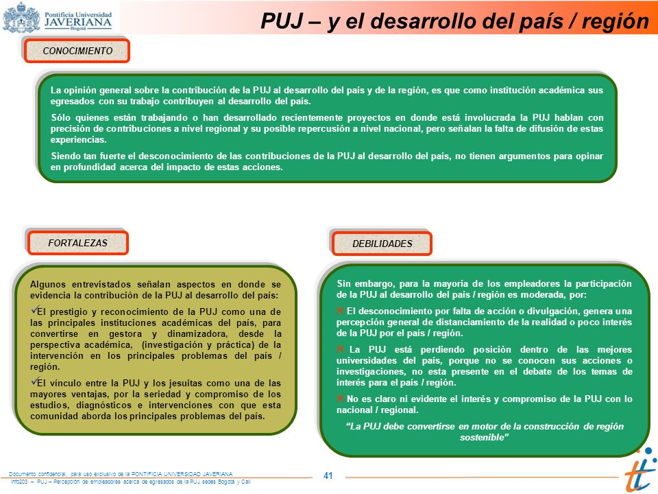 PUJ – y el desarrollo del país / región