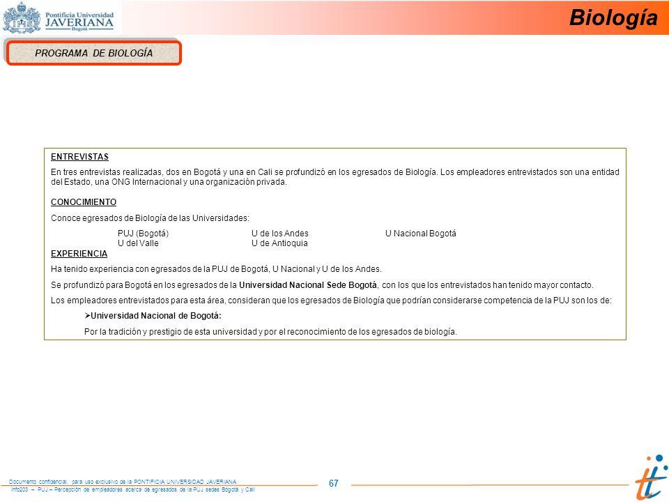 Biología 67 PROGRAMA DE BIOLOGÍA ENTREVISTAS