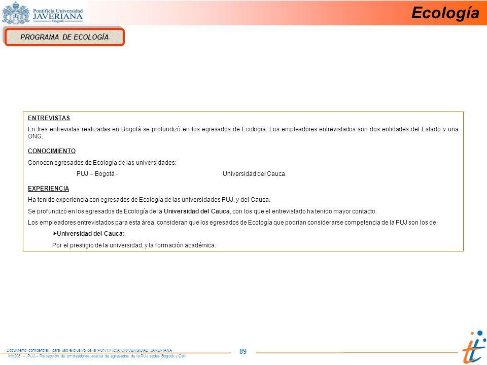 Ecología 89 PROGRAMA DE ECOLOGÍA ENTREVISTAS