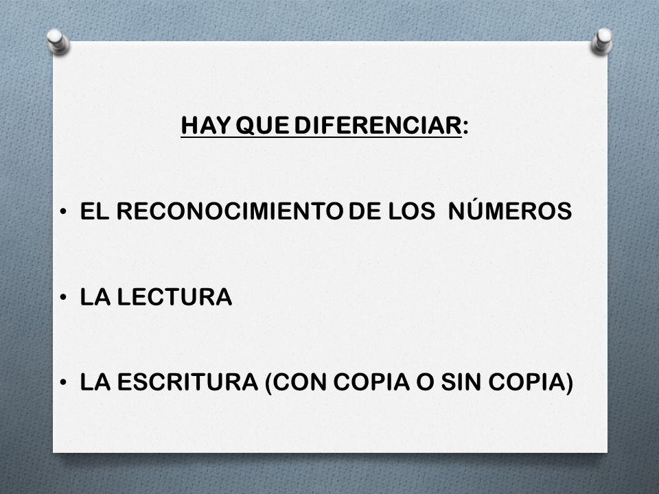 HAY QUE DIFERENCIAR: EL RECONOCIMIENTO DE LOS NÚMEROS.