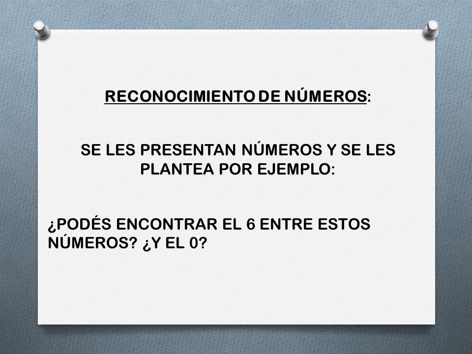 RECONOCIMIENTO DE NÚMEROS: