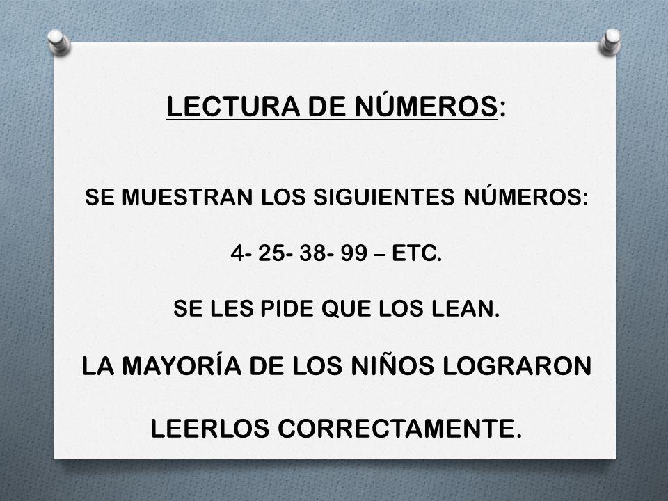 LECTURA DE NÚMEROS: LA MAYORÍA DE LOS NIÑOS LOGRARON