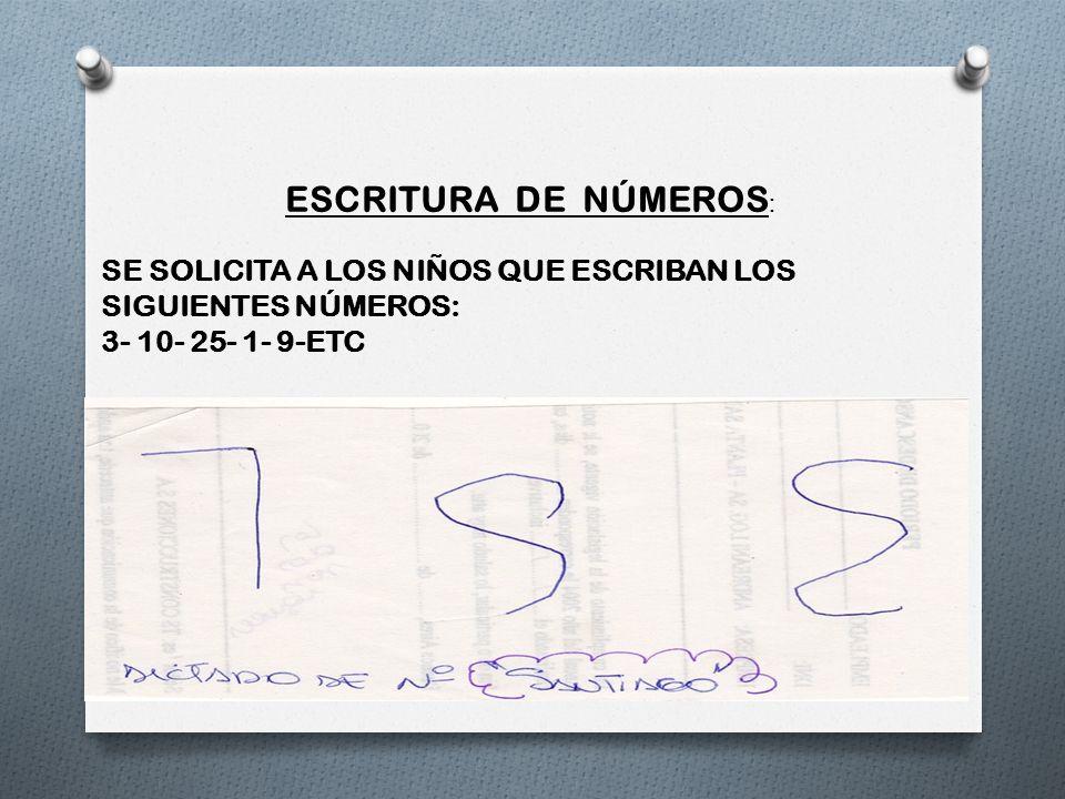 ESCRITURA DE NÚMEROS: SE SOLICITA A LOS NIÑOS QUE ESCRIBAN LOS SIGUIENTES NÚMEROS: 3- 10- 25- 1- 9-ETC.