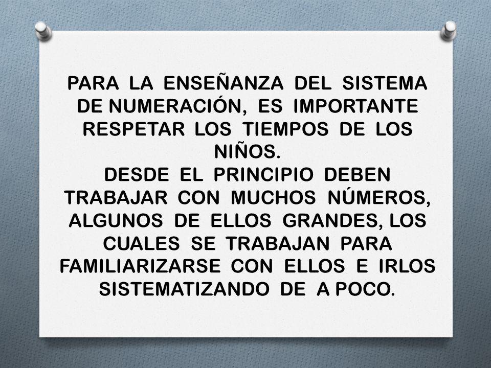 PARA LA ENSEÑANZA DEL SISTEMA DE NUMERACIÓN, ES IMPORTANTE RESPETAR LOS TIEMPOS DE LOS NIÑOS.