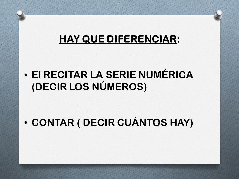 HAY QUE DIFERENCIAR: El RECITAR LA SERIE NUMÉRICA (DECIR LOS NÚMEROS) CONTAR ( DECIR CUÁNTOS HAY)