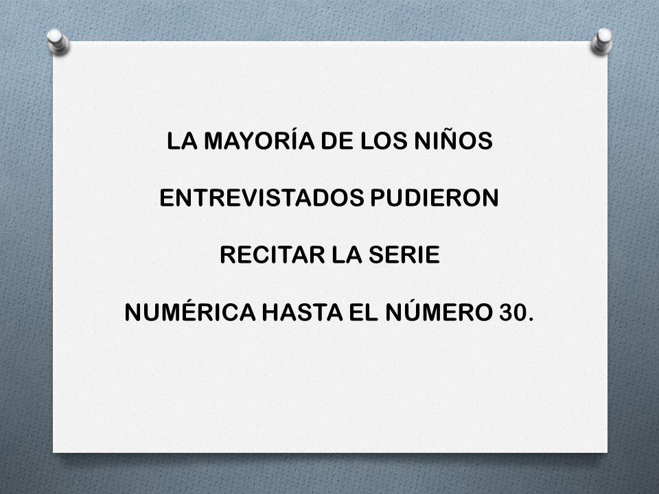 ENTREVISTADOS PUDIERON RECITAR LA SERIE NUMÉRICA HASTA EL NÚMERO 30.