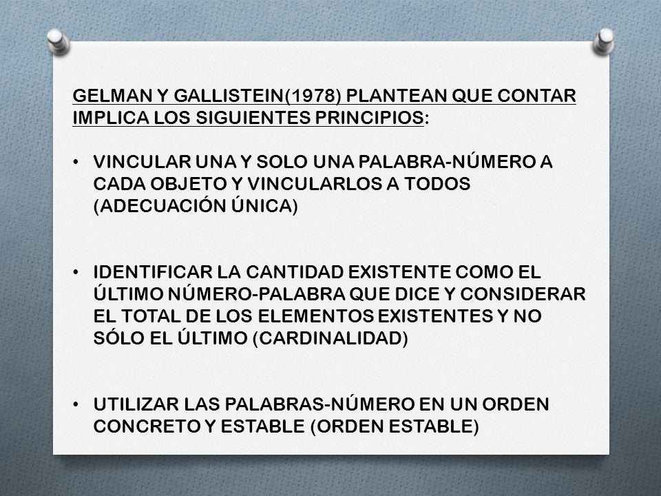 GELMAN Y GALLISTEIN(1978) PLANTEAN QUE CONTAR IMPLICA LOS SIGUIENTES PRINCIPIOS:
