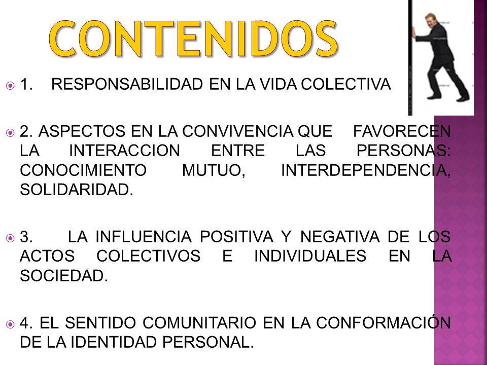 CONTENIDOS 1. RESPONSABILIDAD EN LA VIDA COLECTIVA