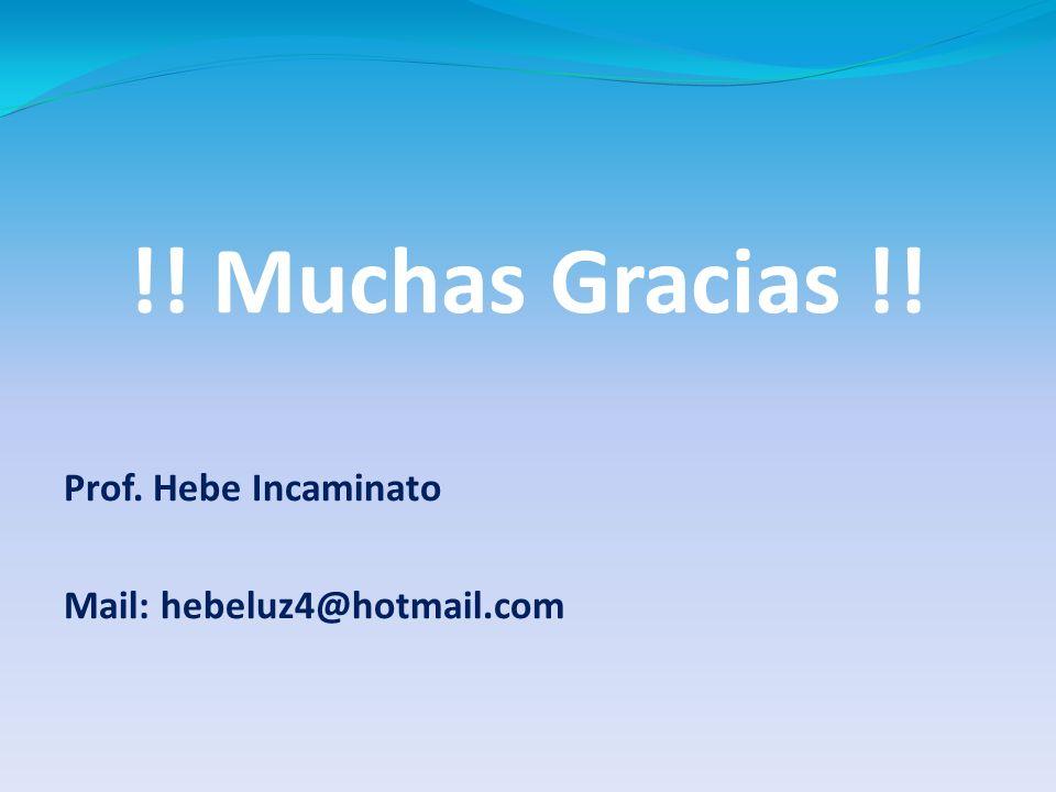 !! Muchas Gracias !! Prof. Hebe Incaminato Mail: hebeluz4@hotmail.com