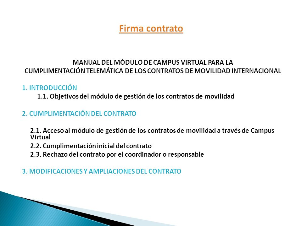 Firma contrato MANUAL DEL MÓDULO DE CAMPUS VIRTUAL PARA LA