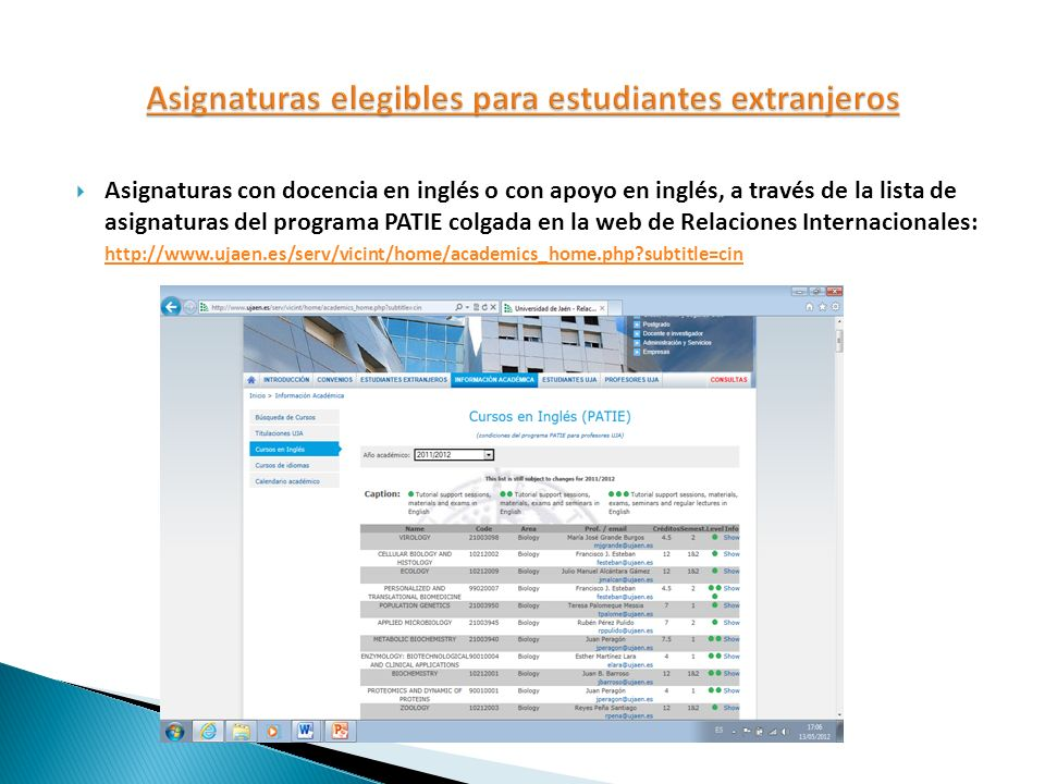 Asignaturas elegibles para estudiantes extranjeros