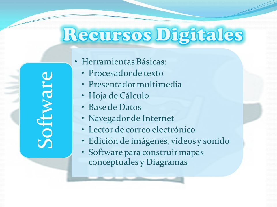 Recursos Digitales Software Herramientas Básicas: Procesador de texto
