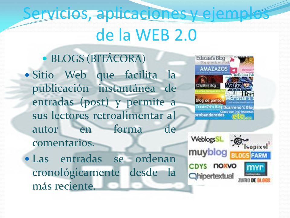 Servicios, aplicaciones y ejemplos de la WEB 2.0