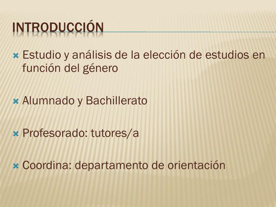 introducción Estudio y análisis de la elección de estudios en función del género. Alumnado y Bachillerato.
