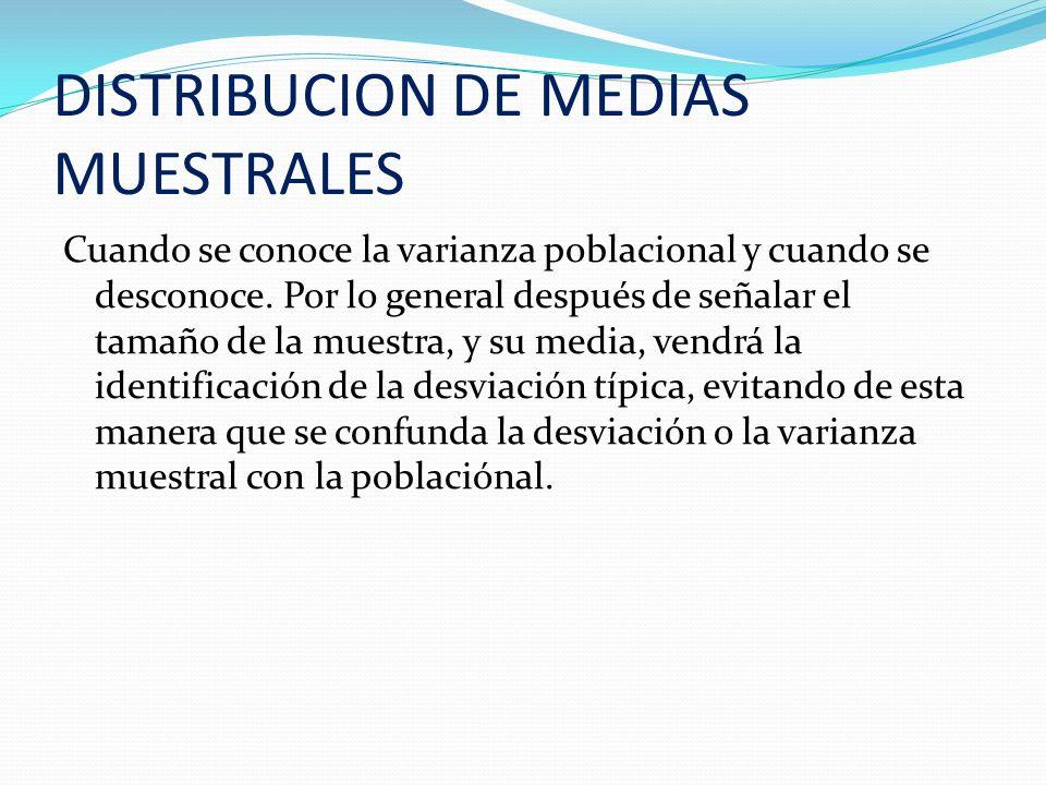 DISTRIBUCION DE MEDIAS MUESTRALES