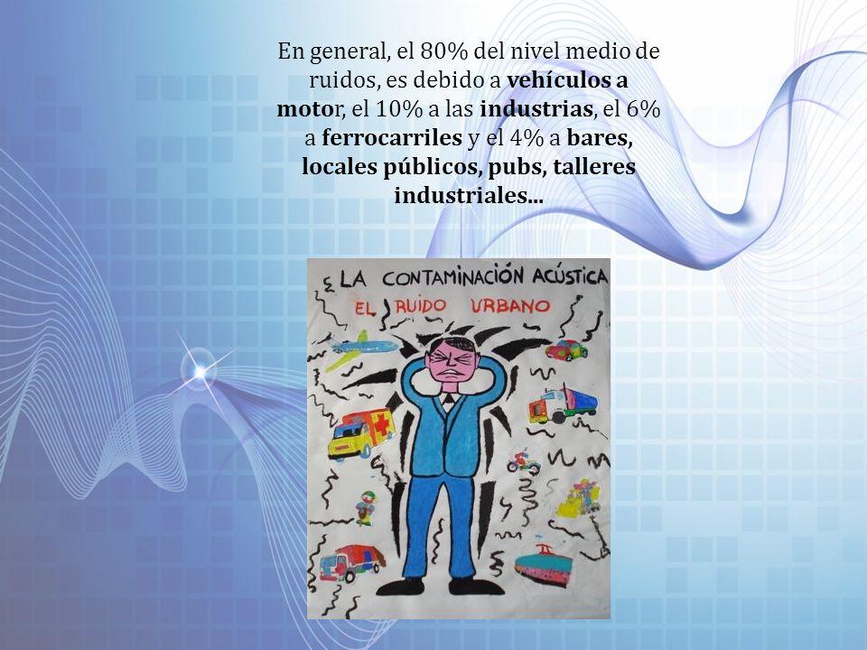 En general, el 80% del nivel medio de ruidos, es debido a vehículos a motor, el 10% a las industrias, el 6% a ferrocarriles y el 4% a bares, locales públicos, pubs, talleres industriales...