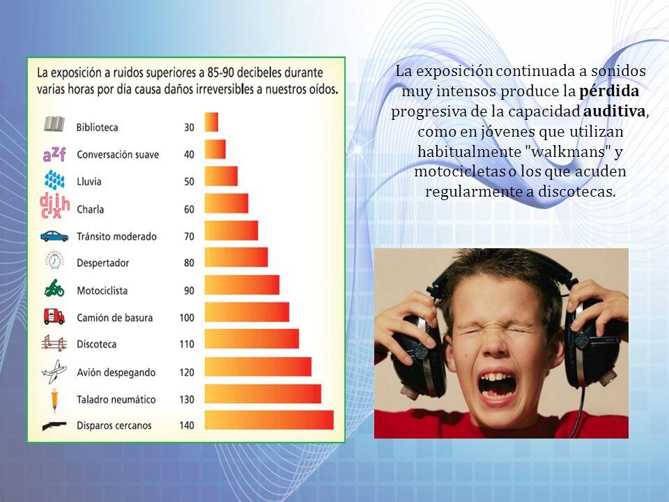 La exposición continuada a sonidos muy intensos produce la pérdida progresiva de la capacidad auditiva, como en jóvenes que utilizan habitualmente walkmans y motocicletas o los que acuden regularmente a discotecas.