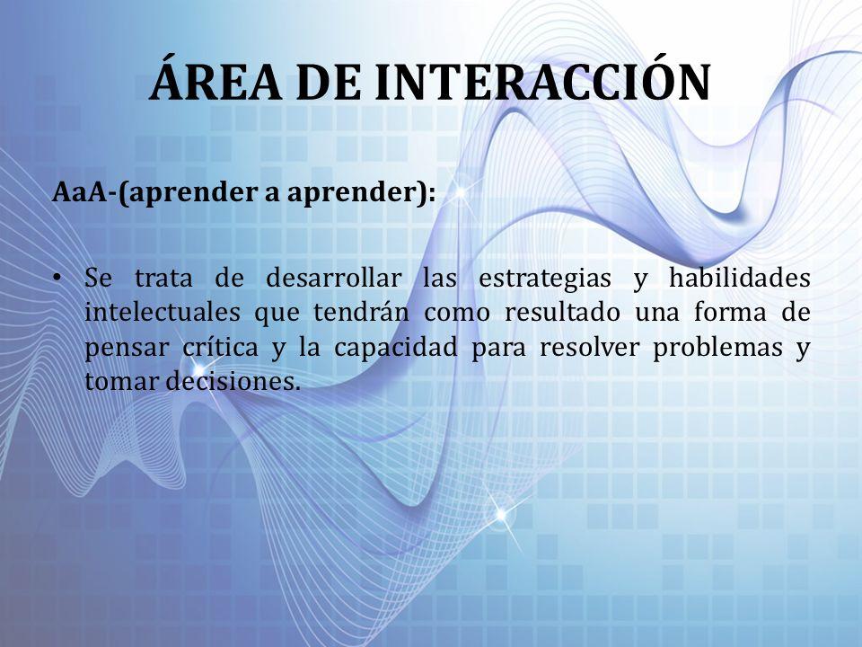 ÁREA DE INTERACCIÓN AaA-(aprender a aprender):
