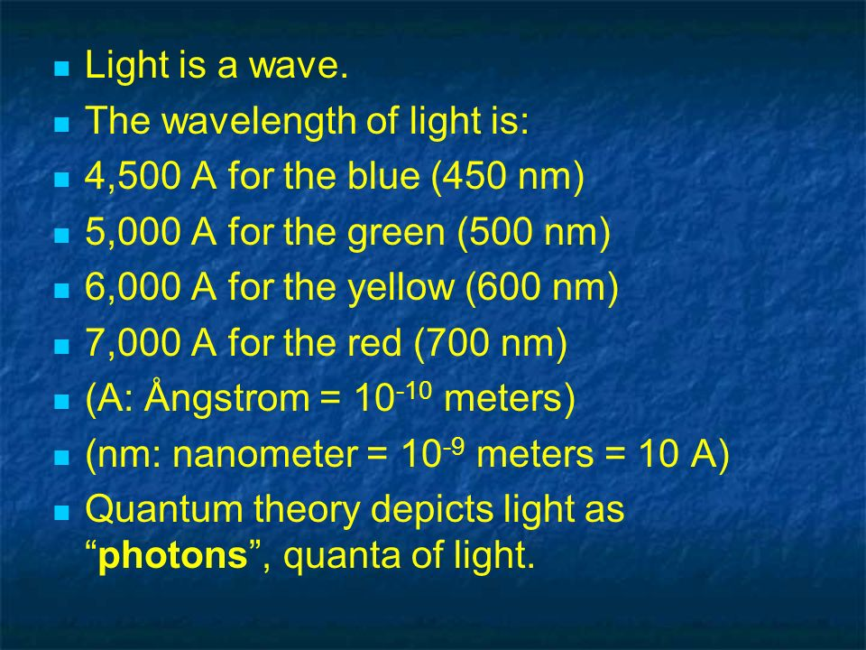 Light is a wave. The wavelength of light is: 4,500 A for the blue (450 nm) 5,000 A for the green (500 nm)