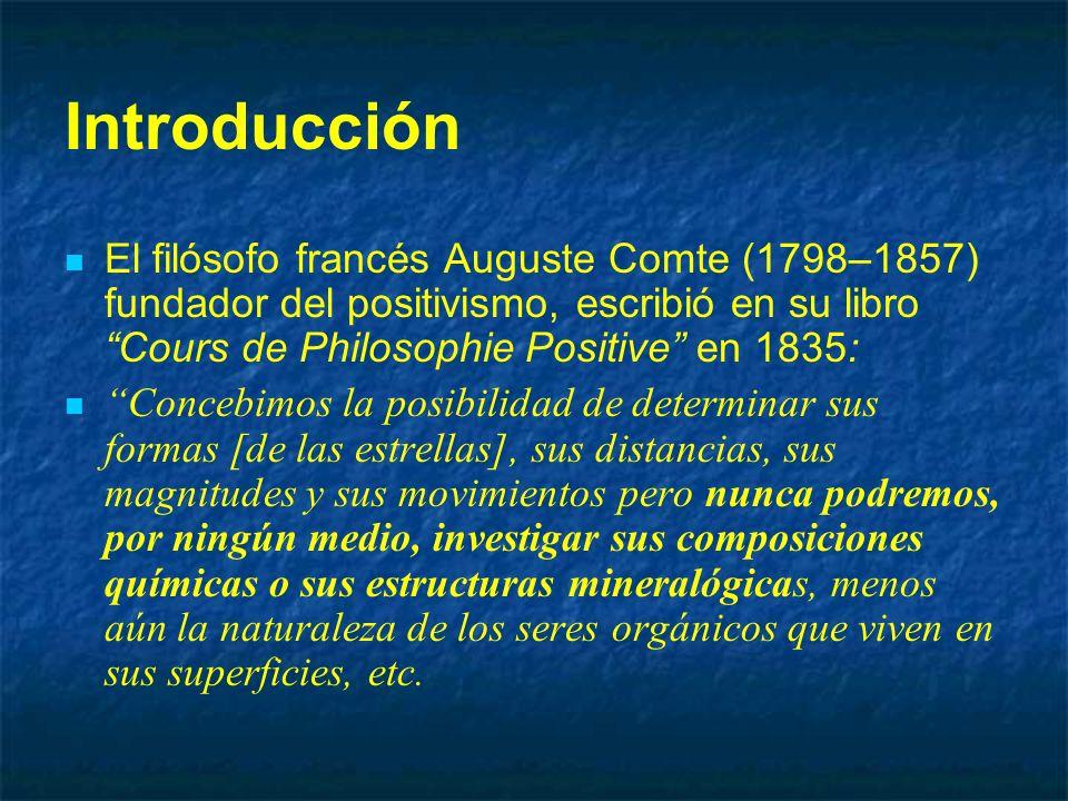 Introducción El filósofo francés Auguste Comte (1798–1857) fundador del positivismo, escribió en su libro Cours de Philosophie Positive en 1835: