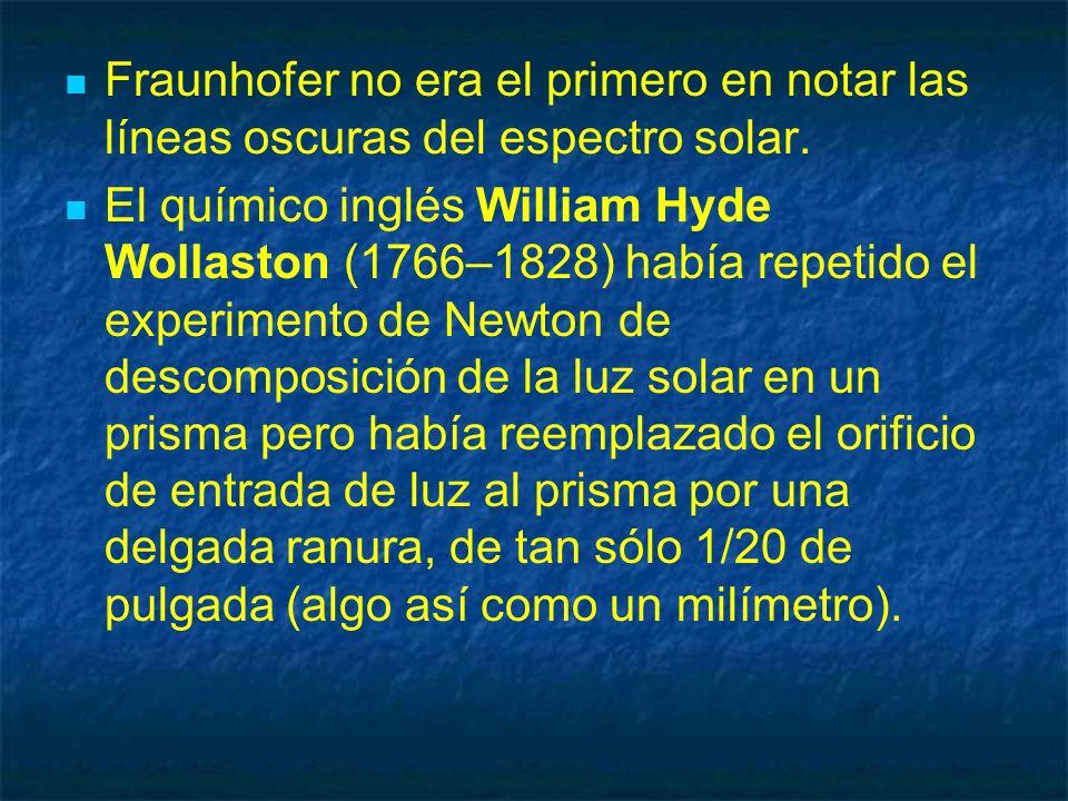 Fraunhofer no era el primero en notar las líneas oscuras del espectro solar.