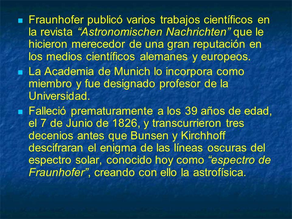 Fraunhofer publicó varios trabajos científicos en la revista Astronomischen Nachrichten que le hicieron merecedor de una gran reputación en los medios científicos alemanes y europeos.