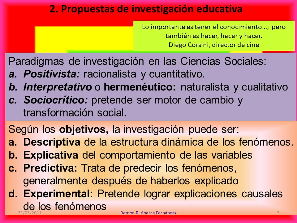 2. Propuestas de investigación educativa