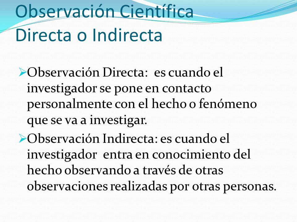 Observación Científica Directa o Indirecta