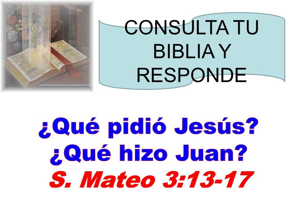 ¿Qué pidió Jesús ¿Qué hizo Juan S. Mateo 3:13-17