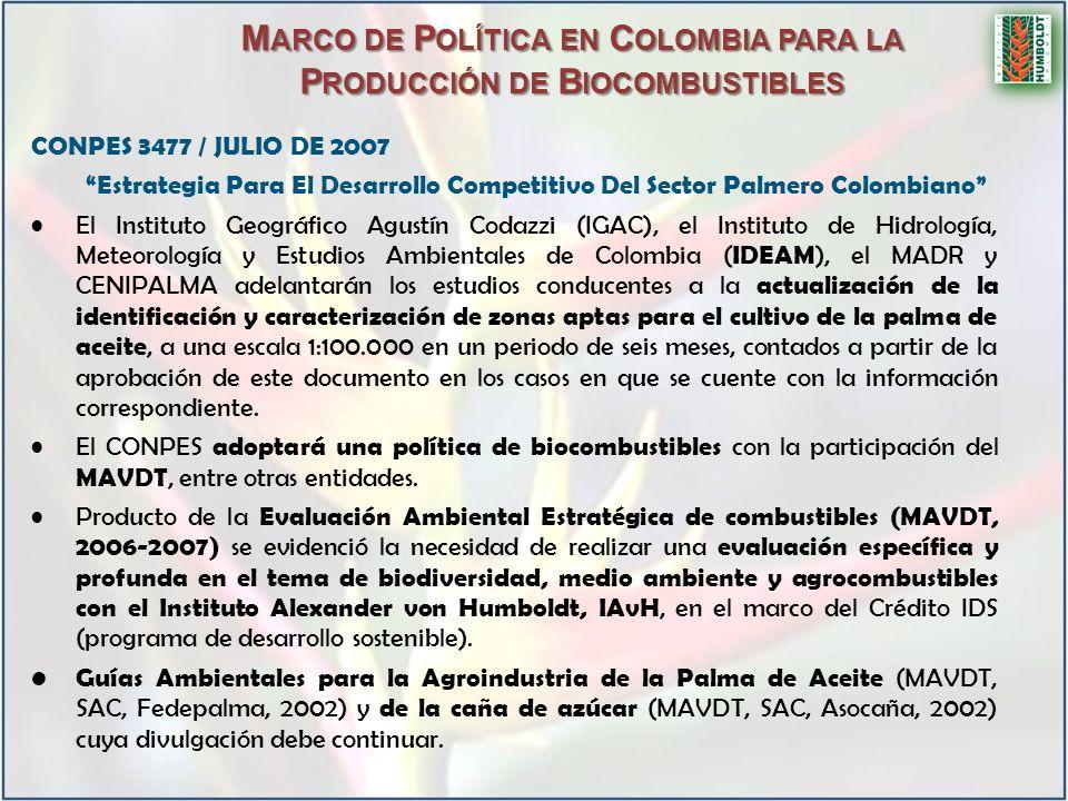 Marco de Política en Colombia para la Producción de Biocombustibles