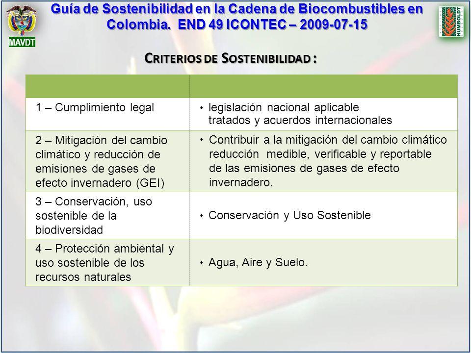 Criterios de Sostenibilidad :