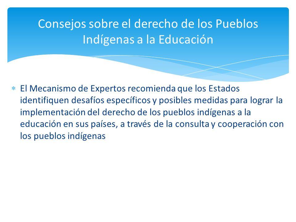Consejos sobre el derecho de los Pueblos Indígenas a la Educación