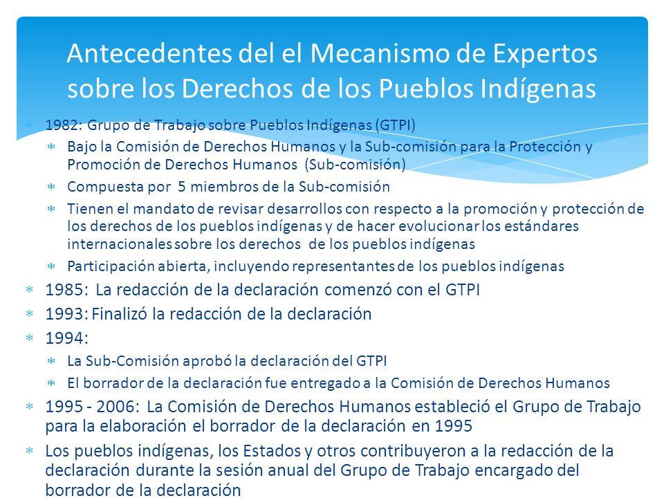 Antecedentes del el Mecanismo de Expertos sobre los Derechos de los Pueblos Indígenas