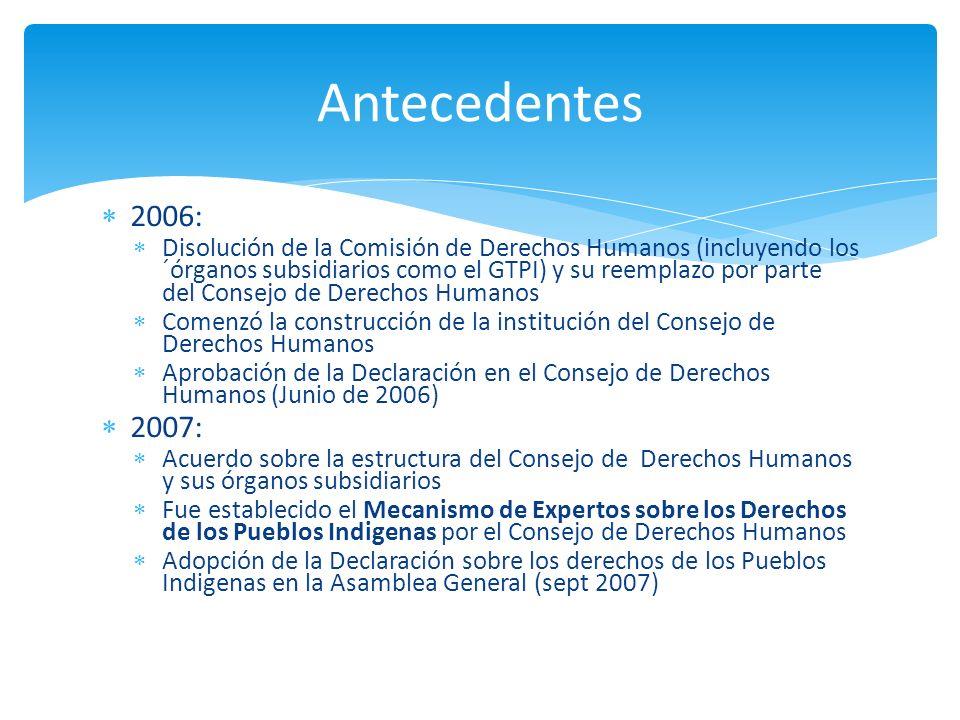 Antecedentes 2006: