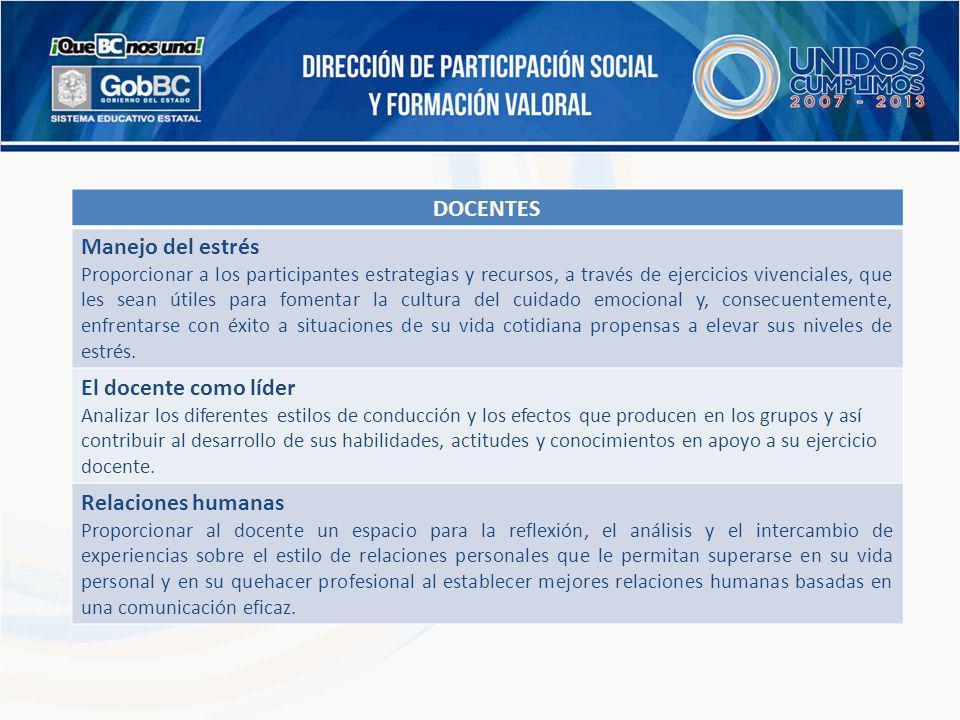 DOCENTES Manejo del estrés El docente como líder Relaciones humanas