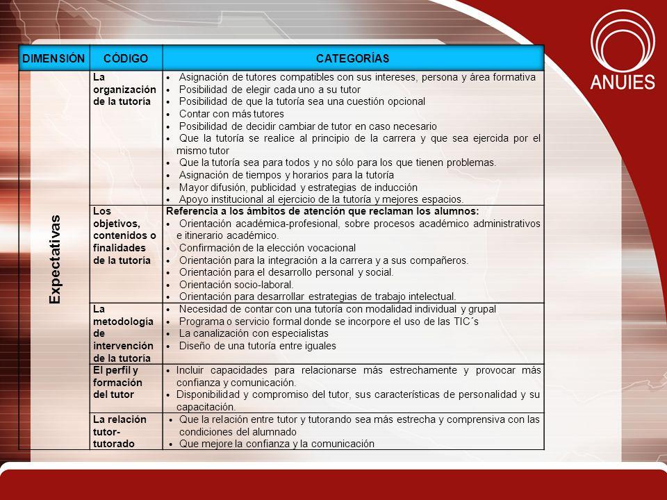 Expectativas Dimensión Código Categorías La organización de la tutoría