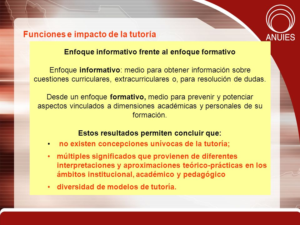Funciones e impacto de la tutoría