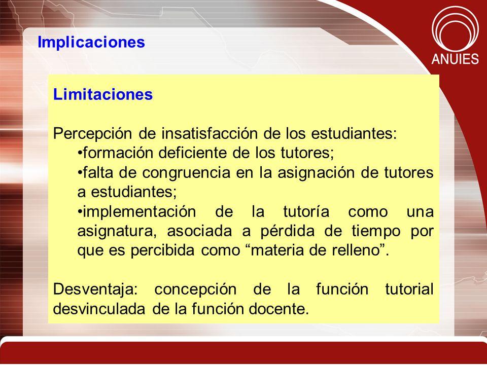 Implicaciones Limitaciones. Percepción de insatisfacción de los estudiantes: formación deficiente de los tutores;