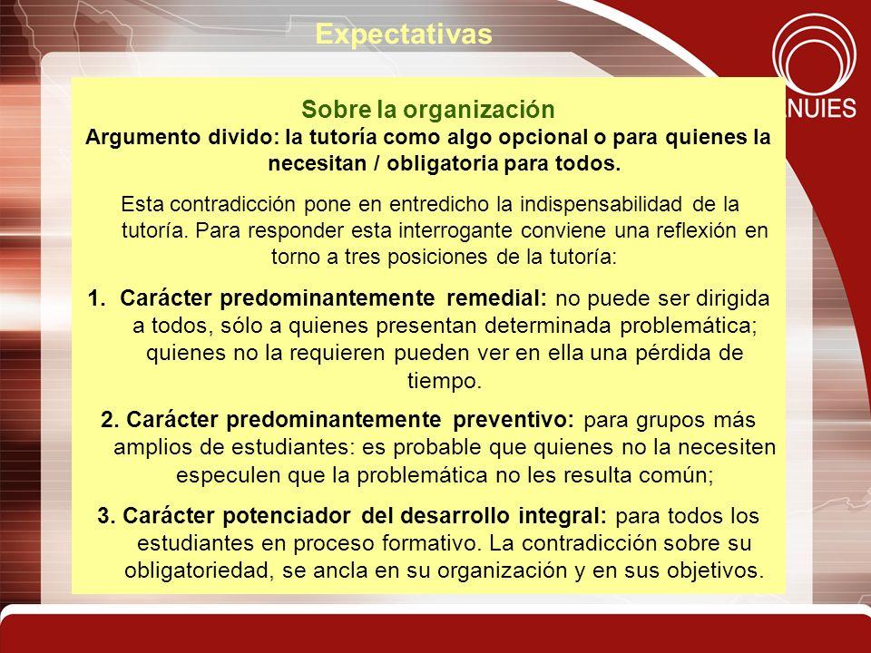 Expectativas Sobre la organización