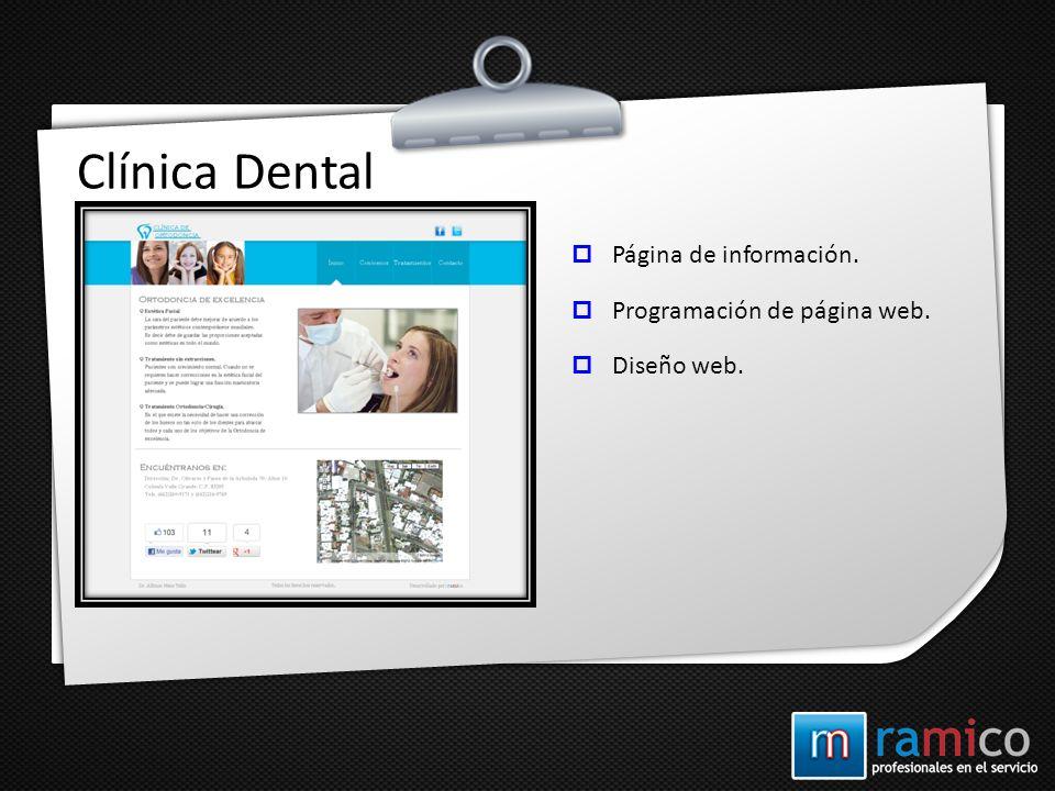 Clínica Dental Página de información. Programación de página web.