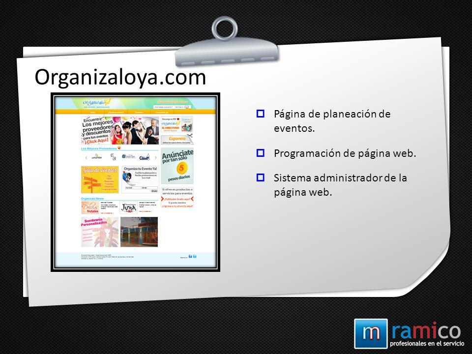 Organizaloya.com Página de planeación de eventos.