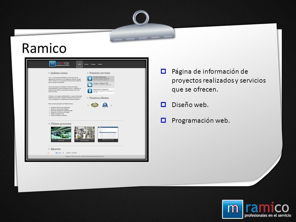 Ramico Página de información de proyectos realizados y servicios que se ofrecen.