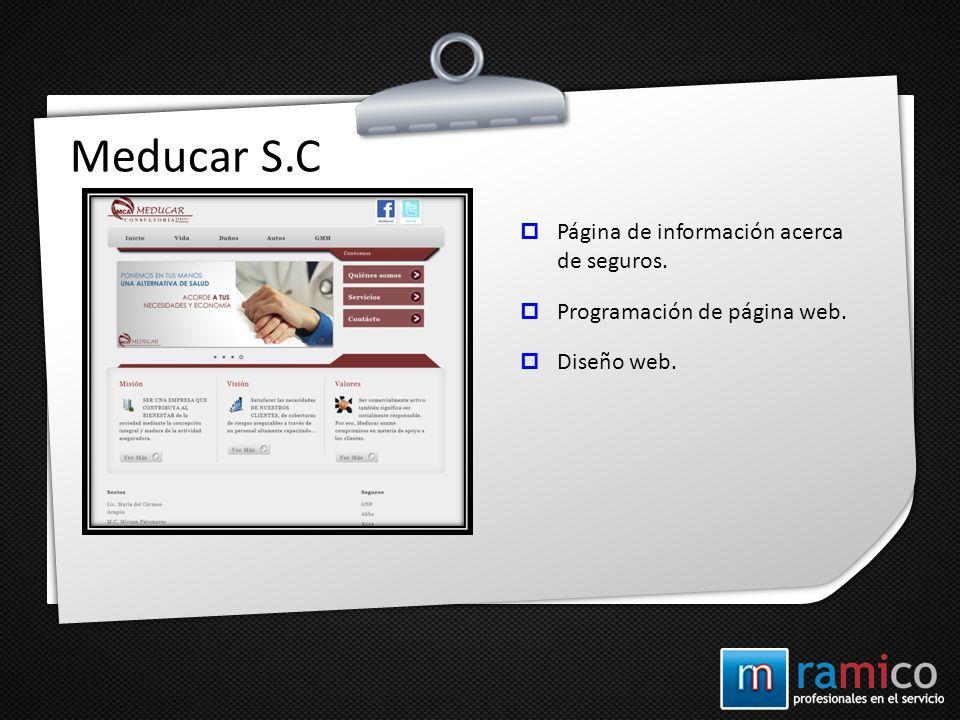 Meducar S.C Página de información acerca de seguros.