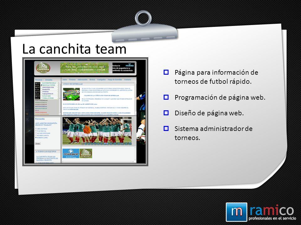 La canchita team Página para información de torneos de futbol rápido.