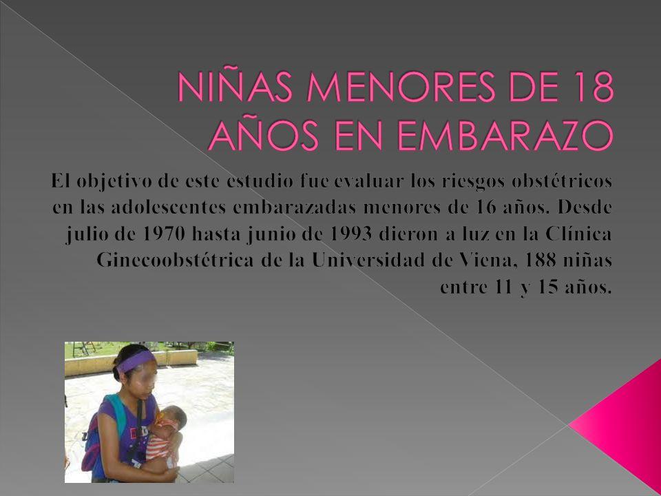 NIÑAS MENORES DE 18 AÑOS EN EMBARAZO
