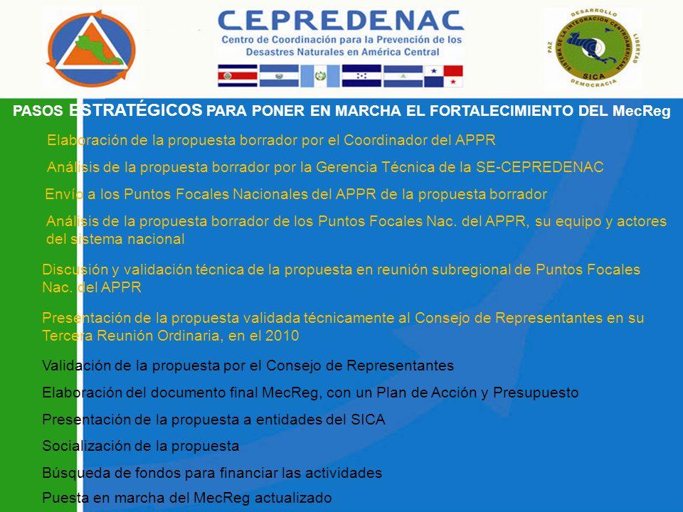 PASOS ESTRATÉGICOS PARA PONER EN MARCHA EL FORTALECIMIENTO DEL MecReg